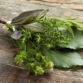 Fresh bouquet garni with different herbs